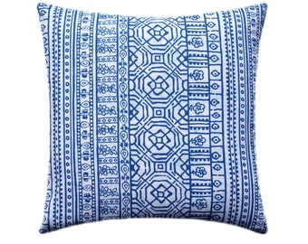 Blue and White Decorative Pillow Covers, Blue Pillow, Tribal Pillow, Aztec Pillow, Throw Pillow Cushion Cover, Devada Cobalt Blue Pillow