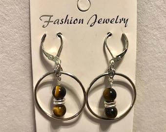 Yellow Tiger Eye Hoop Earrings