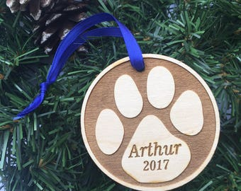 custom pet wood ornament / personalized pet ornament / pet memorial / cat dog lover gift / custom Christmas ornament / engraved wood