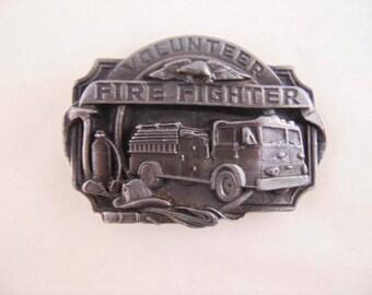 Volunteer Fire Fighter Pewter Belt Buckle // Siskiyou Buckle Co. , circa 1989