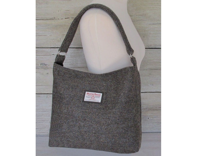 Harris Tweed Large Woodland Herringbone Slouchy Shoulder Bag