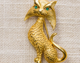 Vintage Cat Brooch Gold Kitty With Green Eyes Broach Vtg Pin 7ii