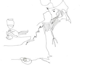 Print of an original drawing -  Zita drinking wine