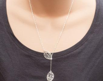 Leaf Lariat Necklace Sterling Silver, Silver Leaf Y Lariat, Filigree Leaf Pendant, Silver Lariat Necklace, Leaf Jewelry, Y Necklace