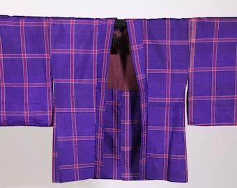 Vintage Silk Japanse Kimono Jacket Purple and pink check