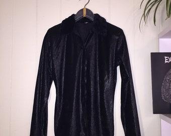Black velvet button up fur collar blouse