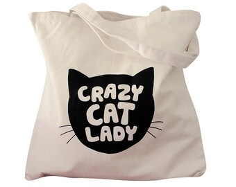 CRAZY CAT LADY Tote Bag - Cat Silhouette on a Natural Canvas Bag