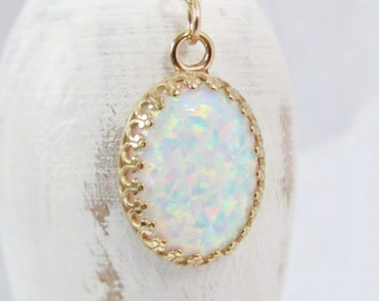 Gold Opal Necklace, Large 14k Gold Filled Opal Pendant, Gift For Her, White Opal Necklace, October Birthstone Jewelry, Lab Created Opal