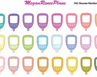 Diabetic Blood Sugar Glucose Monitor Matte Planner Stickers for the Erin Condren Life Planner 24 per sheet
