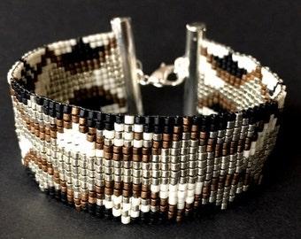 Bead Loom Bracelet/Boho Bracelet Golden-Copper-Ivory-Black