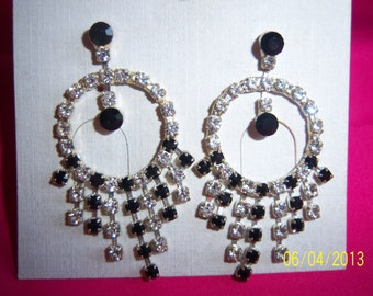 Vintage Rebecca Malone Black and Clear Articulated Crystal Earrings