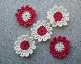 5 flowers in ecru crochet wool rose hand made