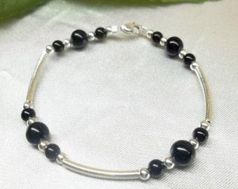 Black Onyx Bracelet Sterling Silver Bracelet Valentine Gift for her Gemstone Bracelet Black Bracelet Womens Bracelet BuyAny3+Get1 Free