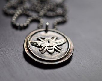 Oxidized Fine Silver Bumble Bee Necklace