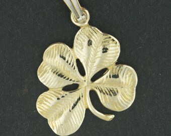 Large Four-Leaf Clover Pendant in Antique Bronze
