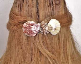 French Hair Barrette with Seashells, Natural shell Hair barrette, Ex Large