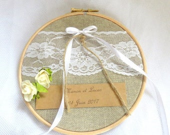 Wedding ring pillow with lace in round or embroidery hoop