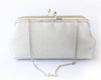 Shimmery Silver Clutch for Bride, Bridesmaid, Mother of the groom