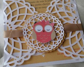 Invitation birth or christening Lace Owl