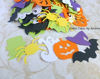 Halloween Confetti Mix, Monster Ghost Witch Hat Bat Pumpkin Spider, Harvest Party, Classroom Die Cut, Trick Or Treat Table Decor, Set of 60