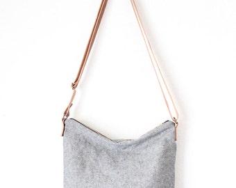 shoulder bag - grey linen with leather strap crossbody