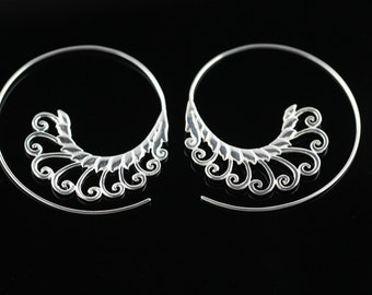 Silver Plated Brass Spiral Earrings, Lightweight Hoop Earrings for Regular Pierced Ears, Ornate Ethnic Design SSL3