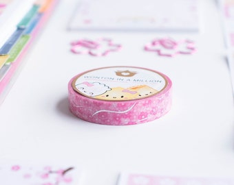 """Skinny Cherry Blossom Washi - Holographic Silver Foil [Pink Washi, Japan Washi] // """"Dimsum Around the World"""" Collection - W078"""
