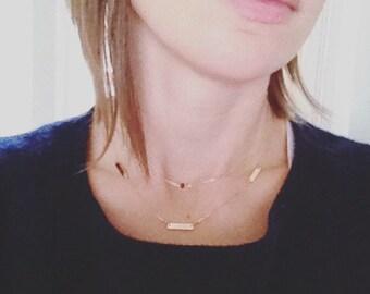 gold bar necklace, gold necklace, bar necklace, silver bar necklace, simple station necklace, three bar necklace, dainty necklace, N67