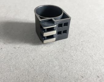 Geometric Silver Ring, Minimalist Silver Ring, Bauhaus Ring, Sterling Silver Ring, Modern Art Design, 3D Print, 925 silver, Bauhaus