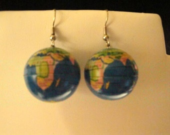 Earth Day A Coming...Perfect...Globe Pierced Earrings