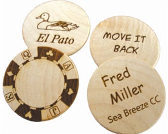 Dollar Sized Personalized Birch Ball Markers (3 of these)