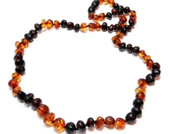 Baltic Amber Necklace for Adult Genuine Cognac Dark Cherry Color Baroque Amber Beads 50 - 52 cm Adult Amber Necklace