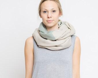 merino color block scarf // sand - schilf