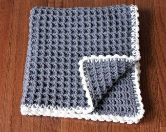 Tiny Adventures Collection, Crochet baby blanket, Gray and white Waffle blanket, Crib blanket