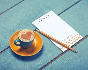 Personalized Teacher Notepad Holiday Teacher Gift Unique Chevron Note Pad Custom Teacher Appreciation Male English Teacher Gift for Writer
