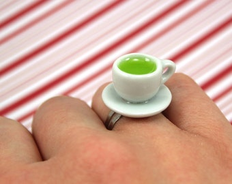 tea cup ring kawaii polymer clay charms miniature food jewelry polymer clay food ring teacup ring green tea ring matcha ring matcha tea ring