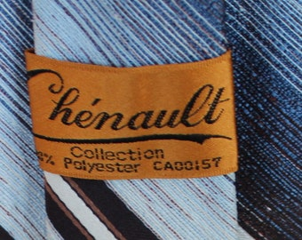 Vintage 1970s Men's Tie / Blue/ Brown/ Chenault