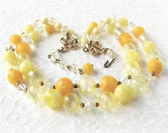 Meadowlark Yellow Beaded Necklace 2 Strand AB Crystal Classic 50s Vintage Costume Jewelry Buttercup Lemon Butterscotch Prom Stage Theater