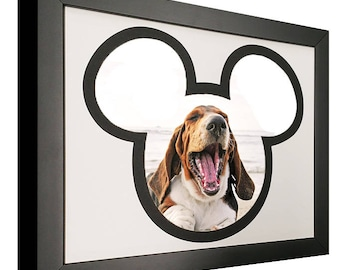 Mickey Mouse Silhouette Picture Frame with Black and White Mat - For 8x10 Photos