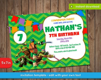 Teenage Mutant Ninja Turtles Invitation TMNT Printable
