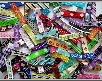 Grab Bag Bulk Lot of Hair Clippies - 31 lined alligator clips with no slip grips