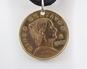 Mexican Coin Necklace, 5 Centavos, Coin Pendant, Leather Cord, Mens Necklace, Womens Necklace, Coin Jewelry, Birth Year, 1969