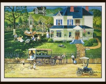 Bob Pettes Calendar Print #2 (1990s), Victorian House, Frameable Wall Art, Turn of Century, Folk Art Home Decor, Nostalgic Americana, Summer