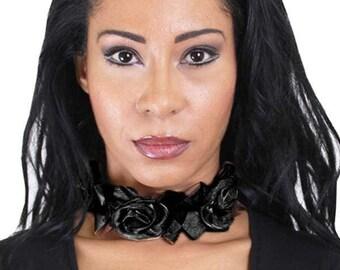 Black Rose Canvas Collar
