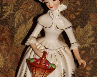 Colonial Lady Figurine With Basket, Probably Florence Ceramics Production