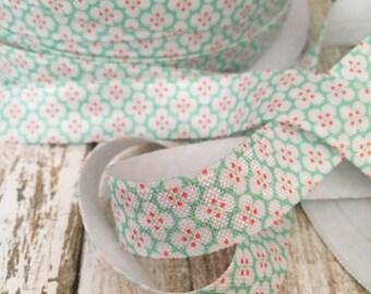 "5 Yards - 5/8"" Vintage Aqua Floral Print FOE // Fold Over Elastic // Elastic by the yard"