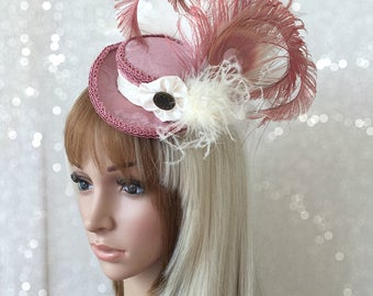 Mini pirate hat, Micro Mini Bicorn Hat, Tea Party Hat, Steampunk tricorn, Mad Hatter Hat, Marie Antoinette Hat, Blush Pink bicorn Hat,