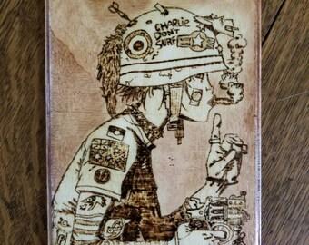 Tank Girl inspired wood burned wall art