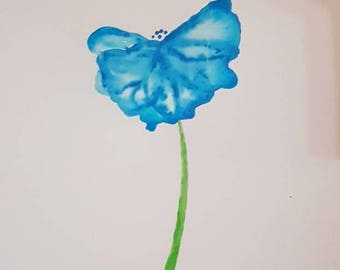 Blue flower drip painting