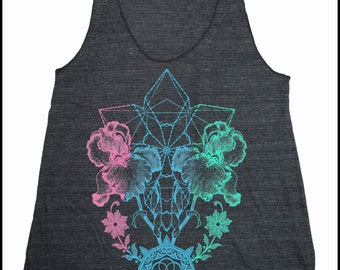 Women's THRIVE Mandala Tank Top Dotwork Mehndi Tattoo Style Sacred Geometry